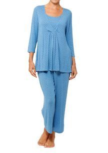 Womens Maternity Motherhood Nursing Pajama Set Shirt Pants Blue