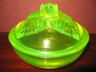 Vaseline Uranium glass rose powder jewelry box dresser holder flowers