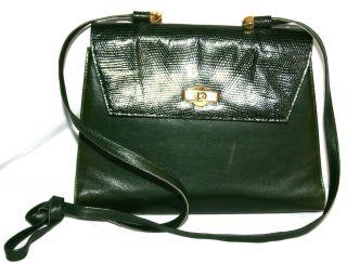 Maud Frizon Vintage Green Lizard Skin Leather Crossbody Bag