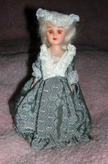 Vintage Doll   Martha Washington 7 Gray Dress Amber Eyes   possibly