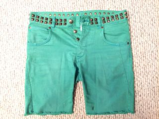 Matthew Williamson H M green pants jeans shorts stud marni versace