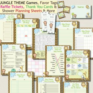 Jungle Zoo Baby Shower Games Pack Favor Tags Raffle Thank You Cards U