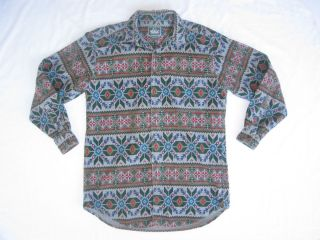 Mens Woolrich Indian Print Flannel Cotton Button Front Shirt USA Made