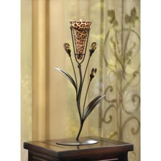 Leopard Printed Lily Flower Tealight Holder Great Gift Iron Glass