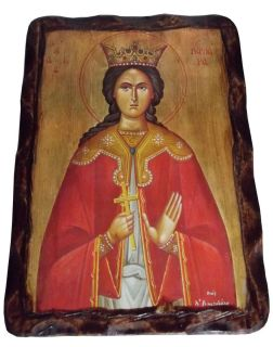 Saint Barbara The Great Martyr Orthodox Icon on Wood Handmade Greece