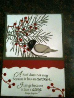 Up Peaceful Wishes chickadee vintage card kit maya angelou quote snow