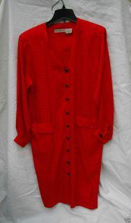 Liz Claiborne Vintage Red Silk Shirt Dress Womans 10 Vintage Retro 80s