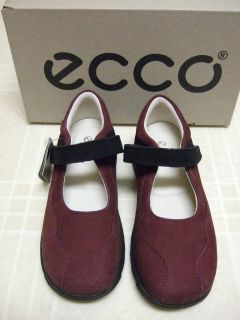Ecco Girl Burgandy Suede Mary Janes Shoes New 10 11 13
