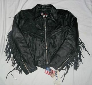 Park V Womens Black Leather Fringed Motorcycle Jacket w Suede Roses