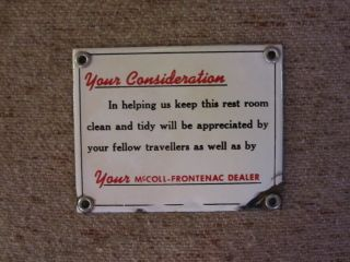 McColl Frontenac ( Red Indian ) Oil Co. porc. RARE, Restroom sign