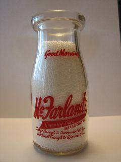 McFarlands Dairy 1 2 Pint Pyro Milk Bottle Watertown Wisconsin Wisc