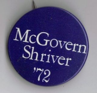 McGovern Shriver 72 Political Pin Button Progressive Gold