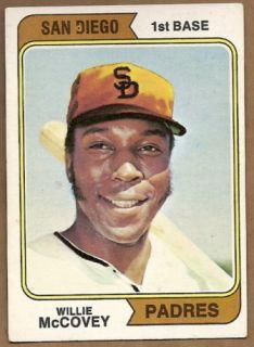 1974 Topps 250 Willie McCovey San Diego Padres HOF