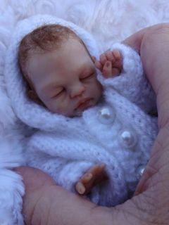 SCULPTED newborn BABY girl clay ART doll SNOW BUNNY By Dawn McLeod