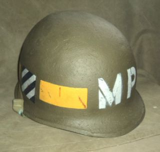 WWII Era M 1 Helmet 3rd Infantry Division MP