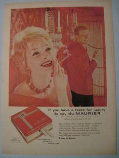 1950s Vintage Du Maurier Cigarette Girl Red Room Ad