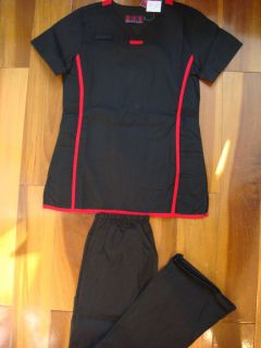 Ladies Nursing Medical Scrubs Set Black Red Nurse Uniforms New