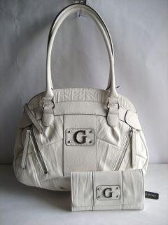 Guess by Marciano Medina White Satchel Handbag w Slim Clutch Wallet