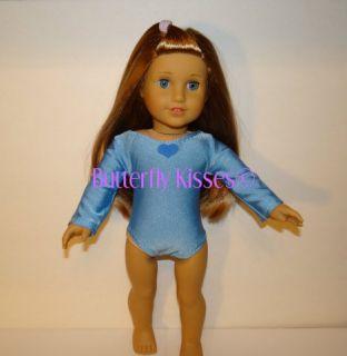 Blue Gymnastic Leotard Blue Heart Applique Fits American Girl McKenna