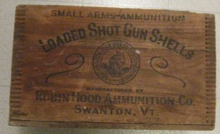 Rare ROBIN HOOD Ammunition Co Wooden Shotgun Shell Box Robinhood Black