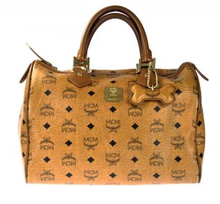 MCM Medium Boston Bag Cognac Brown MSRP $475 526959910