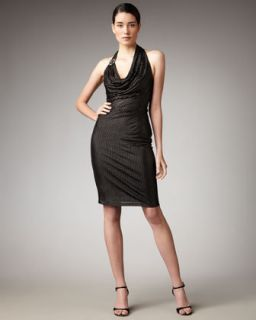 New David Meister Cowl Neck Halter Dress Retail $530 00