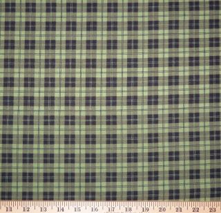 yard Maywood Studios Black & Green Plaid FLANNEL Fabric ~ FREE SHIP