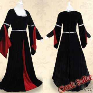 Medieval Black Velvet Dresses Red Silk Wedding Gown Dance Dress