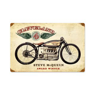 New Custom Made Cleveland Steve McQueen Antique Motorcycle Metal Sign
