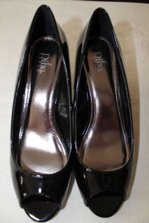 Diba Melania Black Patent Leather Open Toe Heels Womens Size 10