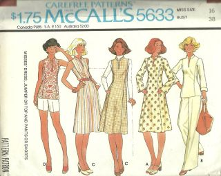 McCall's 5633 Misses Dress, Jumper, Top, Pants, Skirt Sewing Pattern