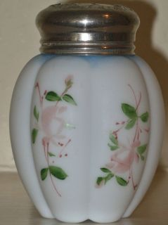 Mt Washington Pairpoint Mellon Salt Shaker Handpainted Florals Blue
