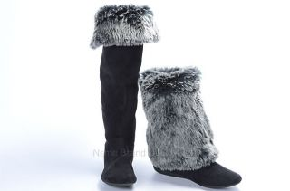 REPORT 6 5 black faux fur suede MELONI cuff foldover winter boot shoe
