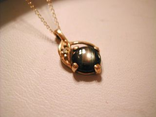 Elegant 14k Gold Necklace Star Sapphire Diamond Pendant