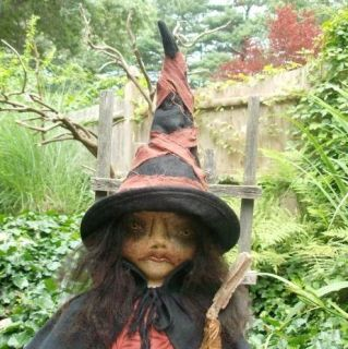 Primitive Folk Art Cloth Halloween Witch Doll OOAK Medea