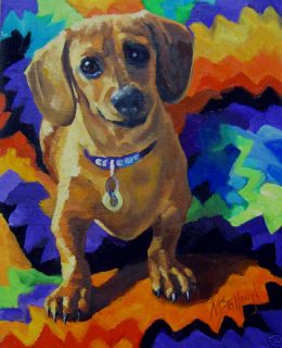 Dog Dachshund Original Painting Construction Mccollough