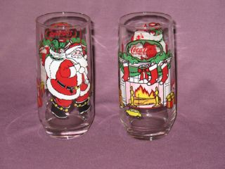 Coca Cola Coke McCrory Stores Santa Fireplace Glasses