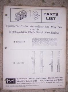 1962 McCulloch Engine Parts List Cylinder Piston Ring H