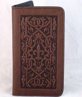 THE MEDICI Oberon Design Leather CHECKBOOK COVER holder chocolate
