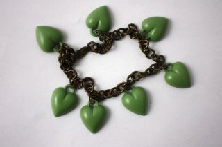 Whimsical Old Vintage Plastic Green Envy Hearts Charm Brass Chain Link