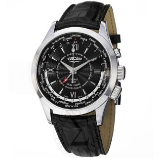 Vulcain Mens Aviator Black GMT Dial Black Leather Strap Watch 100108