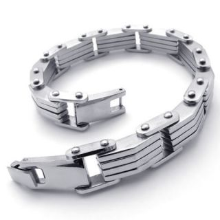 Silver Tone Stainless Steel Link Mens Bracelet Bangle 8 A20426