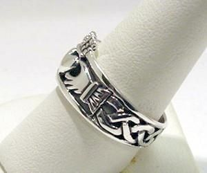 Silver Buffy Promise Mens Irish CLADDAGH RING Celtic Knot Band Size 11