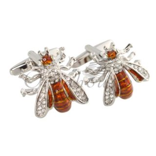 Funny Lovely Bees Shape Cufflinks Mens Dress Shirt Cuff Links