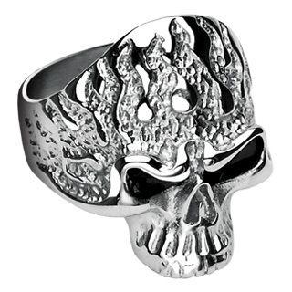 Mens Stainless Steel Flaming Skull Ring