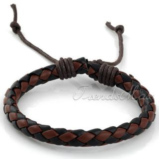 Mens Black Brown Surfer Woven Rope Leather Bracelet Wristband