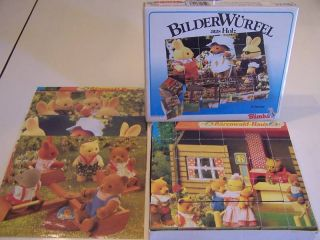 German Wood Block 6 Sided Puzzle Simba Toys West Germany Animal