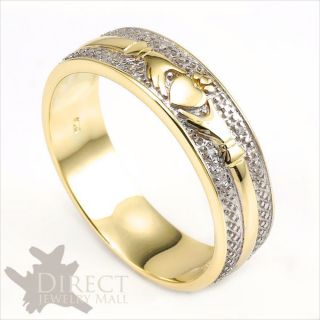 Genuine White Diamond Celtic Claddagh Mens Wedding Band Ring