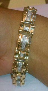 Mens Diamond and Gold Bracelet