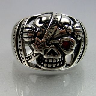 Biker Stainless Steel Red Eye Skull Pirate Mens Ring